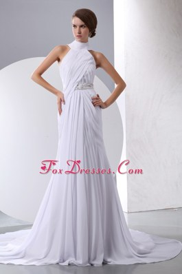 Cheap Column Halter Chiffon Beading Ruch Wedding Dress