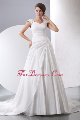 Cheap A-line Wedding Dress V-neck Chapel Train Taffeta