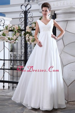 A-line Cheap Wedding Dress V-neck Chiffon Ruch Appliques