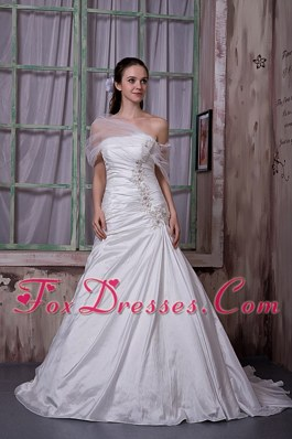 Cheap A-line Strapless Taffeta Appliques Wedding Dress