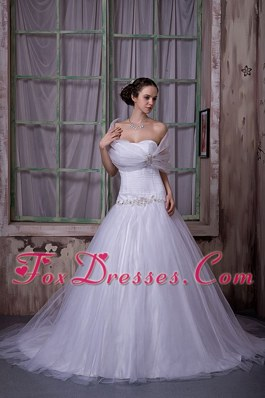 Cheap A-line Strapless Tulle Appliques Beading Wedding Dress
