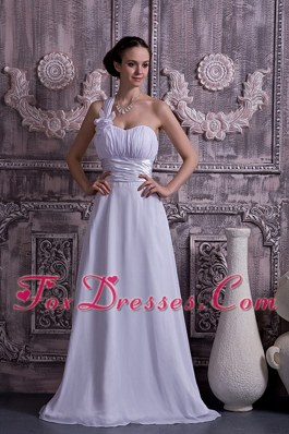 Empire Cheap One Shoulder Court Train Ruch Wedding Dress