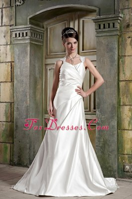 A-line Cheap Wedding Dress V-neck Court Train Satin Lace
