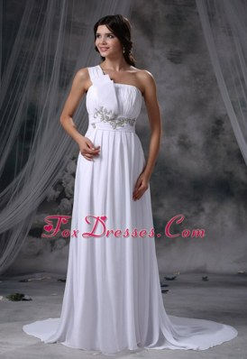 Cheap Beading Ruched Decorate Bodice Chiffon Wedding Dress