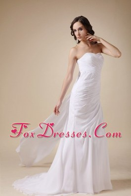 Elegant Column Cheap Sweetheart Watteau Train Wedding Dress
