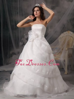 Affordable A-line Wedding Dress Cheap Strapless Court Train