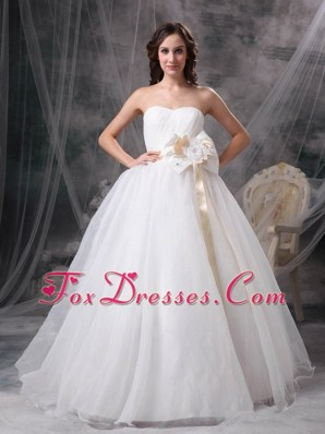A-line Strapless Cheap Taffeta Organza Wedding Dress