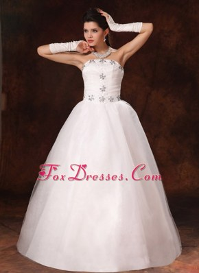 2013 New Styles Wedding Dress Beaded Strapless A-line