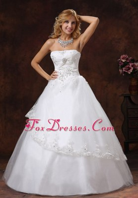 Embroidery Beading Wedding Dress Strapless Tulle Taffeta
