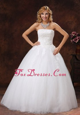Appliques A-line Wedding Dress Floor-length Strapless