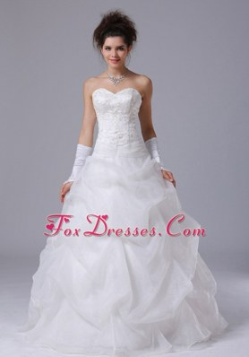 Pick Up Beading Beautiful Sweetheart A-Line Wedding Dress
