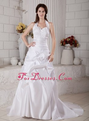 Amazing A-line Wedding Dress Halter Court Train Taffeta
