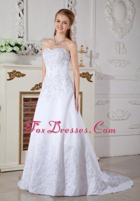 Cheap A-line Court Train Satin Lace Wedding Dress