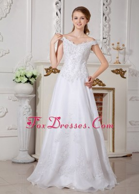 A-line Off The Shoulder Wedding Dress Organza Appliques