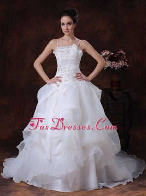Straps A-Line Organza Beading Wedding Dress 2013 Court Train