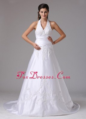 A-line Halter Wedding Dress With Embroidery and Ruch In 2013