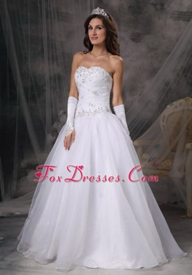 A-Line Princess Sweetheart Organza Beading Wedding Dress