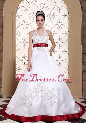 Embroidery Halter Wedding Dress with Red Color Satin Chapel Train