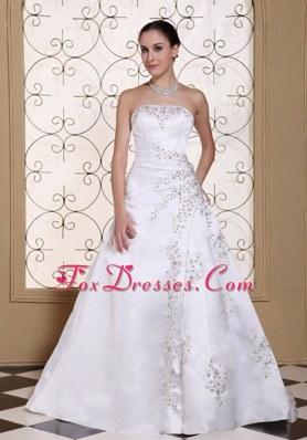 Embroidery Beading On Satin Elegant A-line Wedding Dress
