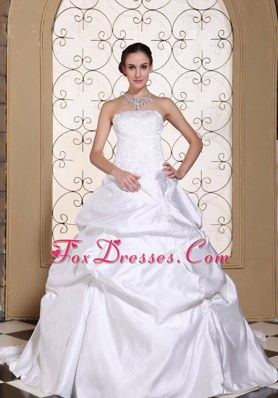 A-line Wedding Dress Embroidery Taffeta White Gown