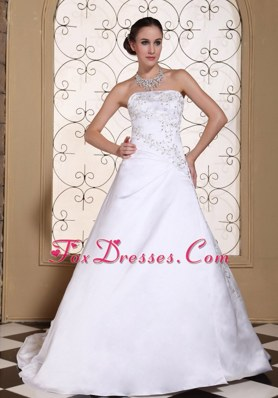 Embroidery On Satin Modest Wedding Dress Strapless