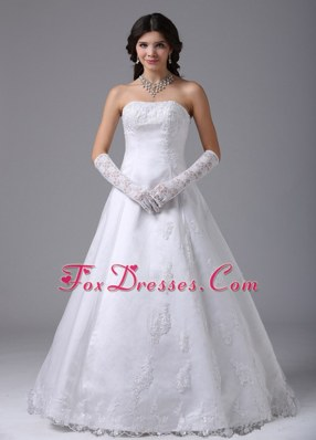Strapless A-line Wedding Dress With Lace and Satin
