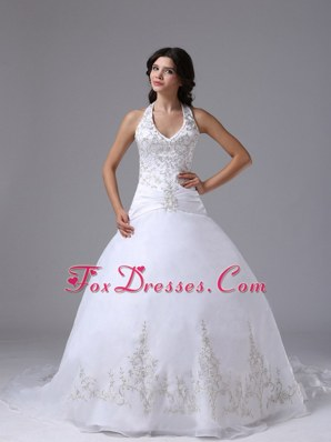 Halter Ball Gown Wedding Dress Embroidery Brush Train