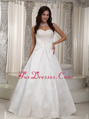 A-line Sweetheart Wedding Dress Floor-length Satin Lace