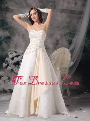 White Champagne Wedding Dress A-line Sweetheart Satin
