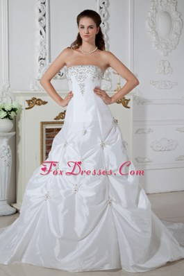 A-line Strapless Wedding Dress Court Train Taffeta Appliques