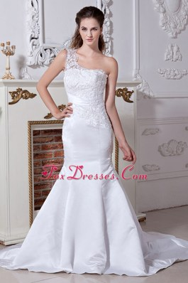 One Shoulder Court Train Satin Beading Embroidery Wedding Dress