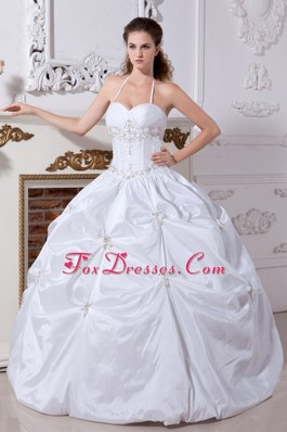 Halter Floor-length Taffeta Embroidery Quinceanera Dess