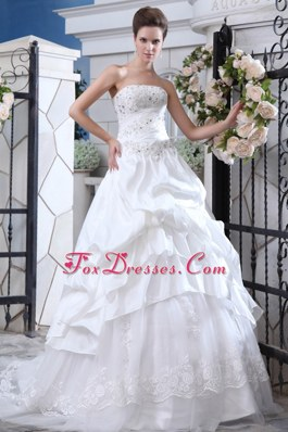 A-line Strapless Court Train Wedding Dress Organza Beading