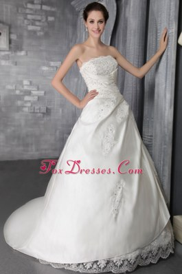 A-Line Princess Strapless Court Train Taffeta Wedding Dress
