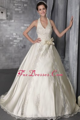 Halter A-Line Brush Sweep Satin Lace Beading Wedding Dress