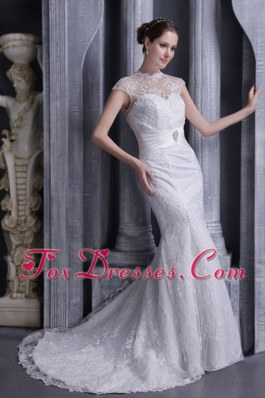 White Mermaid Wedding Dress High-neck Lace Satin Beading