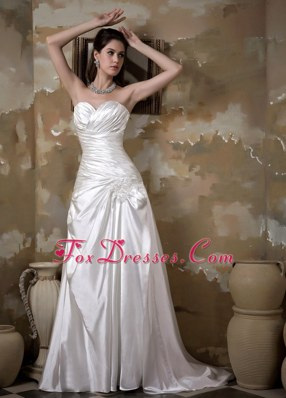A-line Wedding Dress Gown Sweetheart Elastic Wove Satin
