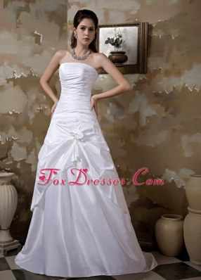 A-line Strapless Brush Train Taffeta Floral Wedding Dress