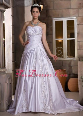 A-line Wedding Dress Sweetheart Chapel Train Taffeta Beading