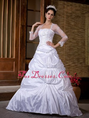 A-line Wedding Dress Strapless Court Train Appliques