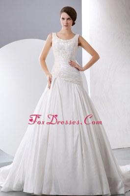 A-line Scoop Chapel Train Taffeta Appliques Wedding Dress