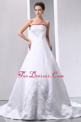 A-line Strapless Wedding Dress Chapel Train Satin Embroidery