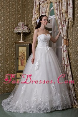 A-line Sweetheart Wedding Dress Brush Train Taffeta Lace