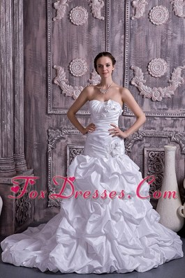 A-line Princess Stapless Court Taffeta Beading Wedding Dress