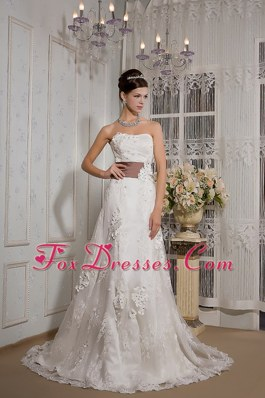 A-line Strapless Wedding Dress Court Train Lace Appliques