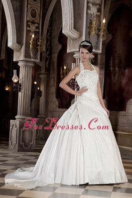 Modest Halter Taffeta Appliques Beading Wedding Dress