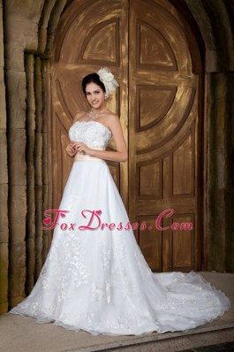Strapless Court Train A-line Wedding Dress Organza With Yellow Belt