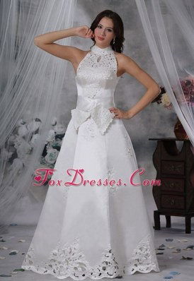Appliques Sash A-line Bow Satin Wedding Dress Fashionable