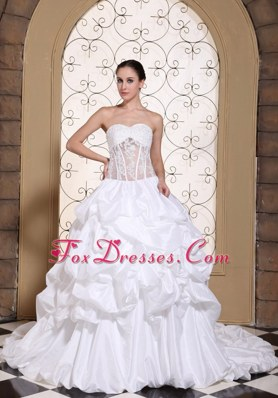 Pick-ups Ball Gown Wedding Dress 2013 Lace Classic Taffeta