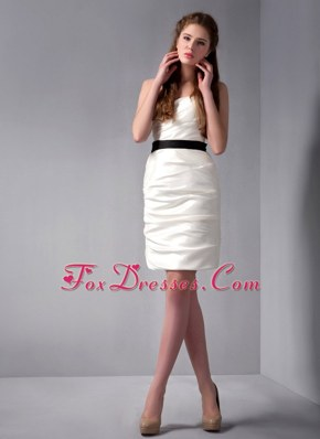 Spaghetti Straps White Column Sash Mini-length Prom Cocktail Dresses